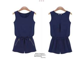 RIBBON JUMPSHORT  💋Ribbon Waist Romper / Jumpshort 💫Texture fabric 💫False zipper side pockets 💫Wrap double-button back 💫Garter waist 💫Waisted ribbon included 💫Free size fits up to semi L 💫Single color 💫Good quality  Price : 390