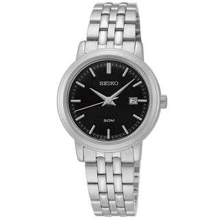 Seiko Quartz Stainless Steel Black Dial SUR827 SUR827P1 SUR827P Women's Watch