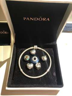 PRICE DROP 🌟 Pandora Bracelet and Charms Disney Cinderella Chick Dog Bone Bowl Love Blue Enamel