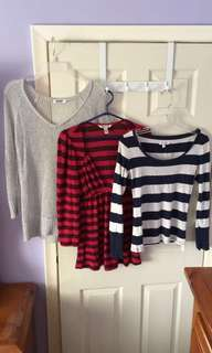 3 Long Sleeve Tops Medium
