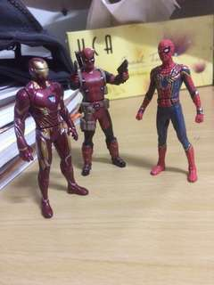 Iron Man, Deadpool, Iron Spider Metal Cast Figurines