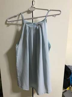 Halter neck pastel blue top