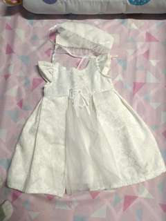 Baptismal set (dress, cap, shoes)