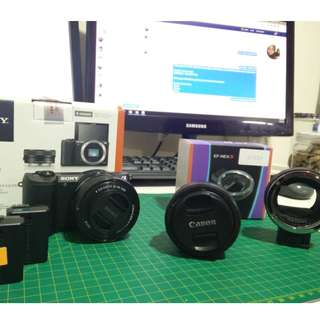 Sony A5100+Extra Battery+Lens Adaptor+Canon 40mm