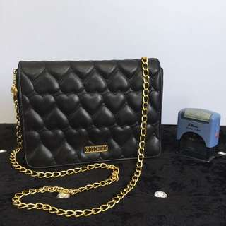 Authentic MOSCHINO Quilted Leather Chain Shoulder/ Sling