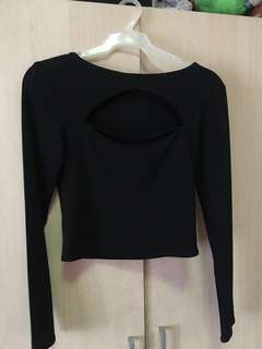 Black Crop Top Long Sleeves