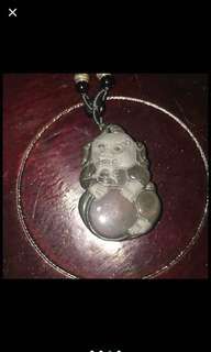 {FS138} Obsidian Crystal Pendent Of Chinese Lion with Obsidian Eyes