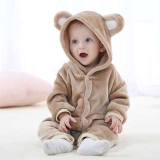 [ Preloved ] Baby Toodler Cute Animal Hooded Outfit One-piece Romper
