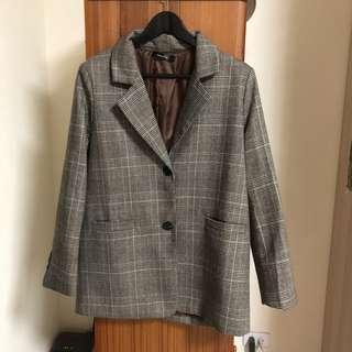 🚚 復古千鳥格紋大衣西裝外套