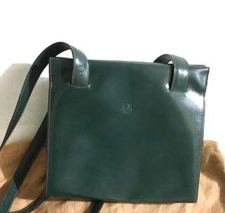 中古 Loewe Vintage Shoulder Tote Bag 墨綠色牛皮袋 9成新
