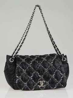 Chanel Nylon Tweed Stitched flap bag