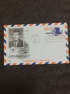 US 1967 13c JF Kennedy Aerogramme FDC stamp
