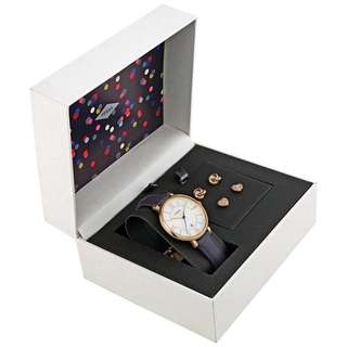TODAY OFFER - Fossil Jacqueline Leather Watch and Earrings Set