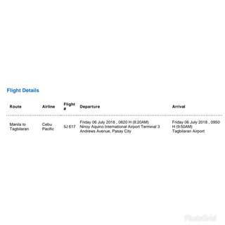 2 pax Flight Ticket Manila to Tagbilaran