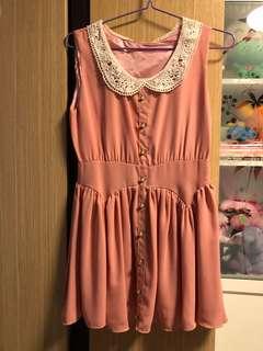 日系粉色連身短裙