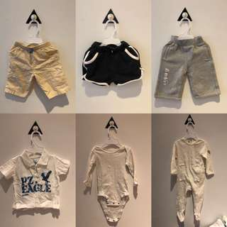 🚚 2手(9-12M)。寶寶長/短褲、T恤、長袖包屁衣、冬天厚棉褲