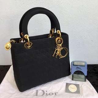 Authentic LADY DIOR Cannage Nylon Handbag