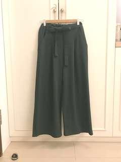 🚚 質感墨綠色綁帶寬褲