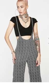 dollskill plaid self tie suspender / overall / jumpsuit
