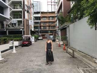 麻料灰色洋裝