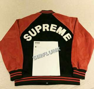 Supreme SS17 Pale Red Suede Varsity Jacket