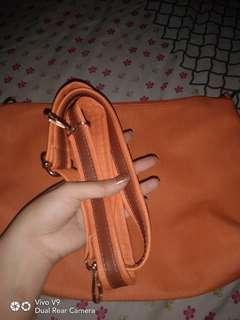 Tas slempang polos orange ada tali panjang