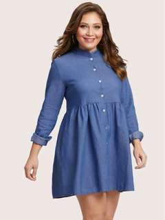 Plus size long sleeve button down dress