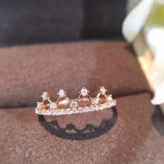 18K金小皇冠鑽石戒指