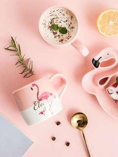 Flamingo ceramic breakfast cup