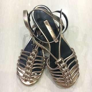 Zara gladiator gold shoes