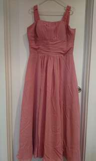 Simple pink long dress