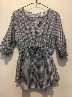 韓國衣服-格仔中袖襯衣