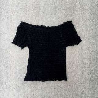 Black Smocked Off Shoulder Top