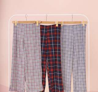 Plaid wide leg pants