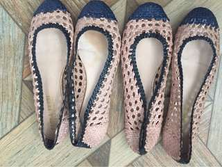 Paola Ferri leather weaved ballerina shoes