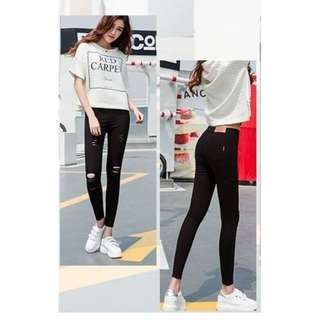 Black hole Korean style women 2017 spring and summer new tight pants
