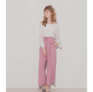 🚚 粉色側開叉寬褲