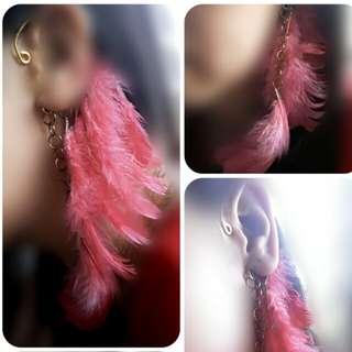 Pink Boho Feather Ear Cuff