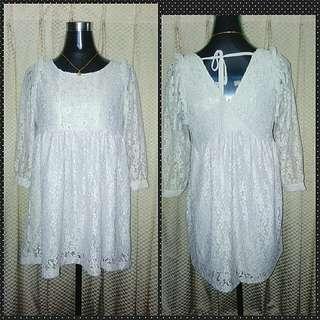 Vintage Long sleeve Lace Mini Dress