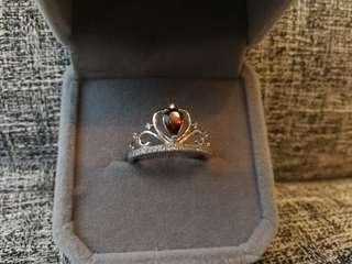 👑Natural Garnet Silver Ring👑天然石榴石純銀鍍白金戒指🌠主石4x6mm皇冠款 活囗圈