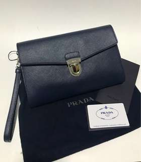 Authentic Prada Clutch in Saffiano Leather