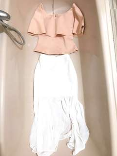 White Skirt with Off Shoulder Top (can be worn as cropped top)