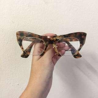 AUTHENTIC Miu Miu Cat Eye Rasoir Tortoiseshell Eyeglasses in Havana Brown