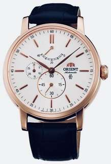 only hk$1399, 100% new ORIENT Vintage Automatic Silver Dial Men's Leather Watch手錶