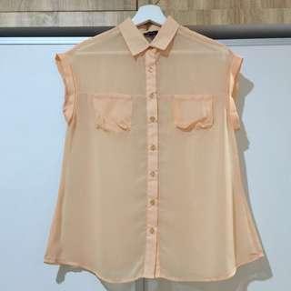 Cloth Inc Peach Chiffon Top