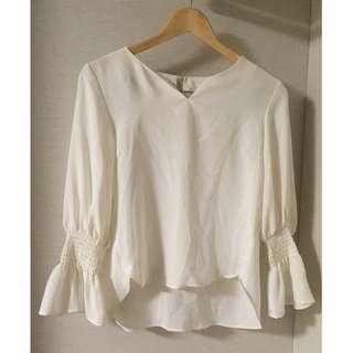日本購入 Andemiu 白色上衣 袖口縮口設計