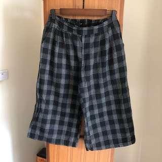 🚚 黑色格子寬褲