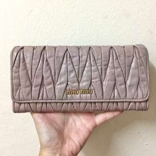 AUTHENTIC Miu Miu Lavender Matelassé Long Lamb Leather Wallet