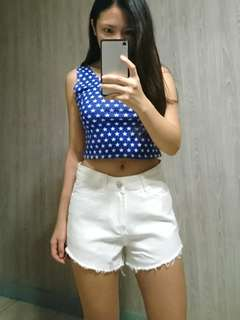 White high-waisted stretching shorts 白色彈力高腰牛仔褲