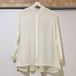 Off White Shirt with See Through Pleated Backside